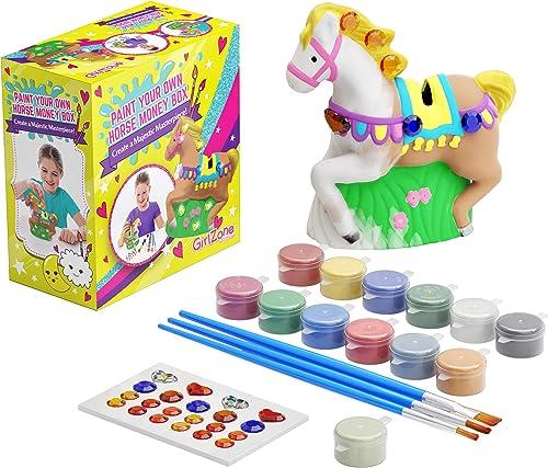 GirlZone Cadeau Fille -Tirelire Cheval à Peindre Soi-Même Kit de Peinture Complet pour Fille avec Pinceaux, Peinture,...