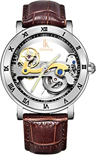 IK Men's See Through Mechanical Watch, Luxury Hollow-Out Minimalist Auto Self-Winding Steampunk Wrist Watch with Roman Numerals Luminous Hand