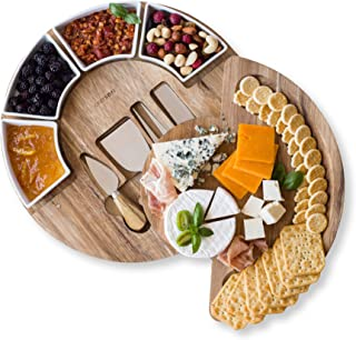 Cheese Board Set - Charcuterie Board Set and Cheese Serving Platter. US Patented 13 inch Meat/Cheese Cutting Board and Kni...