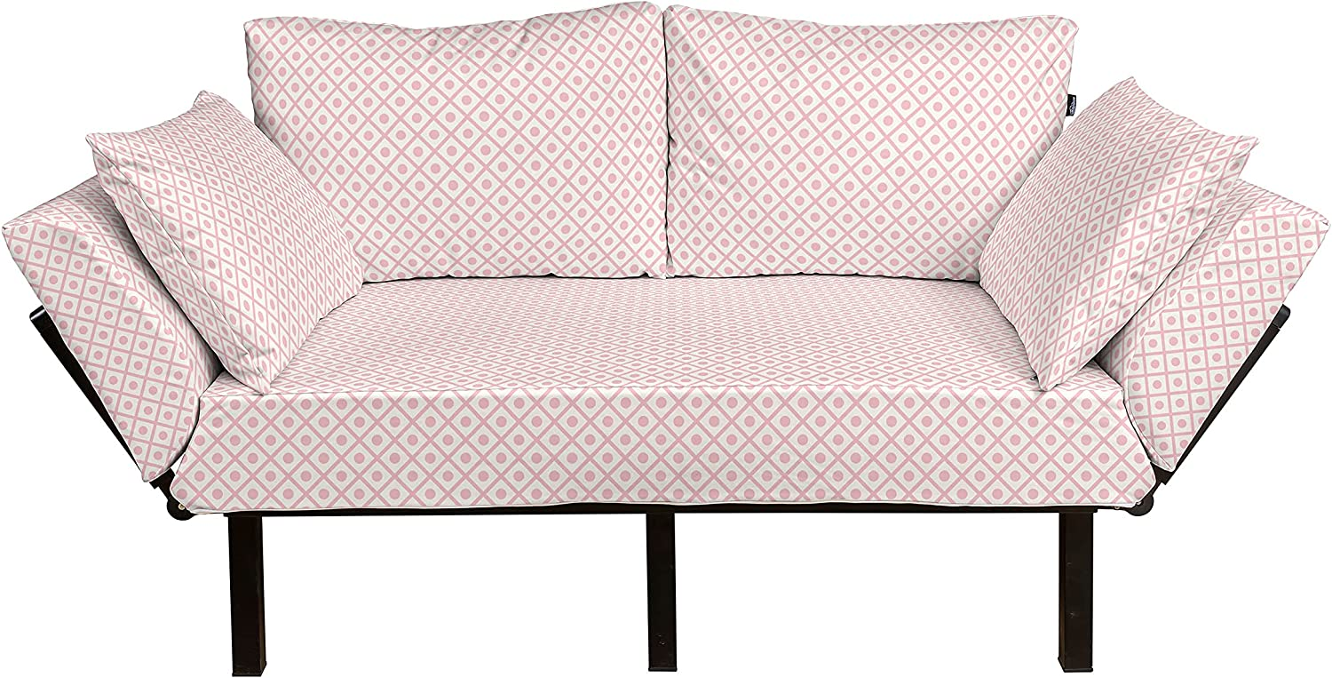 Ambesonne Retro Futon Max 86% OFF At the price of surprise Couch Pastel Polka Geom Squares Dots with