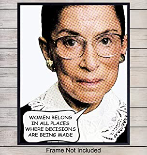 Notorious Ruth Bader Ginsburg RBG Wall Art Print - Chic Home Decor for Bedroom, Office, Den - Makes a Great Gift for Democrats, Liberals and Feminists - 8x10 Photo - Unframed