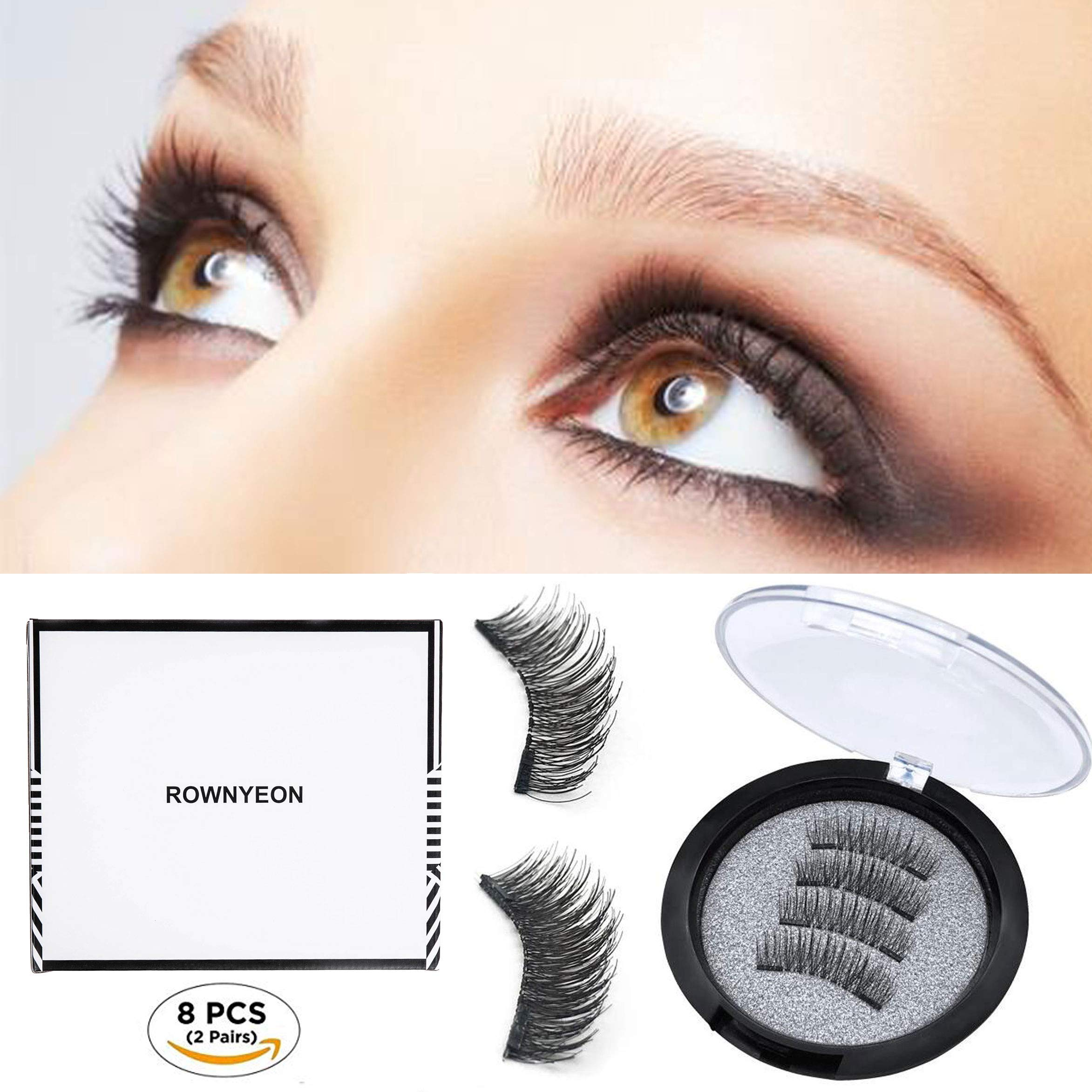 f16c4cae41c ROWNYEON Magnetic Eyelashes Dual Magnetic False Eyelashes - Ultra Thin 3D  Fiber Reusable Best Fake Lashes Extension for Natural, Perfect for Round  Eyes ...