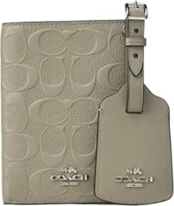 Embossed Signature Leather Passport Case Luggage Tag