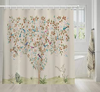 Antique Tree Art Shower Curtain, Vintage Tree With Blossoming Flourishing Leaves and Bird Elegance Tree Print Bath Curtains, Bathroom Accessories Waterproof Fabric Shower Curtain 12PCS Hooks, 69X70IN