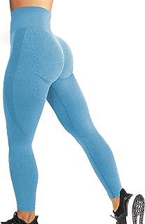 YEOREO Women High Waist Workout Gym Smile Contour Seamless Leggings Yoga Pants Tights Light Blue L