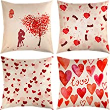 TUPARKA 4 Pcs Father's Day Throw Pillow Covers Linen Pillow Case Cover 18 x 18 Inch Home Cushion Decoration