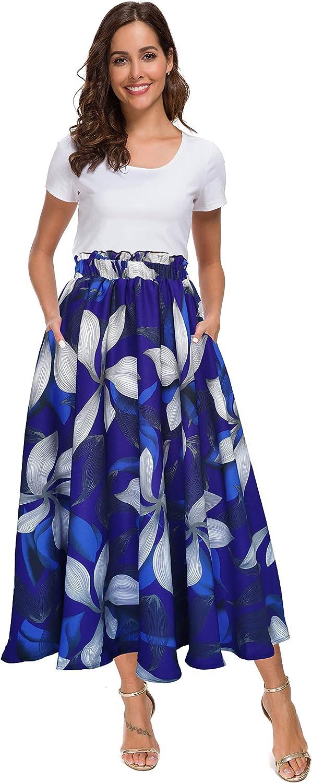 Afibi Women High Waist Floral Print Swing Chiffon Beach Midi Long Skirt with Pockets