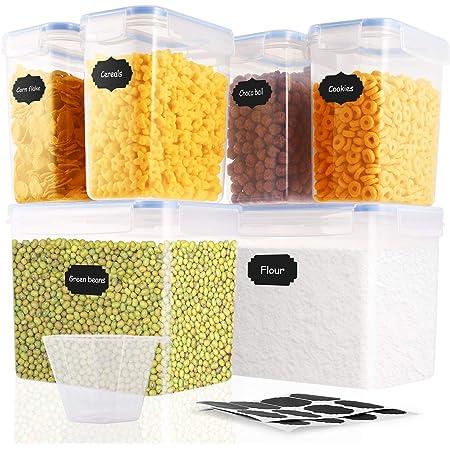 SOLEDI Set di Contenitori per Alimenti Set di 6 Ermetico Contenitori per Alimenti Senza BPA Riciclabile Facile da Pulire Perfetto per Cereali, Avena, Pasta, Cheerios, Noci, ECC