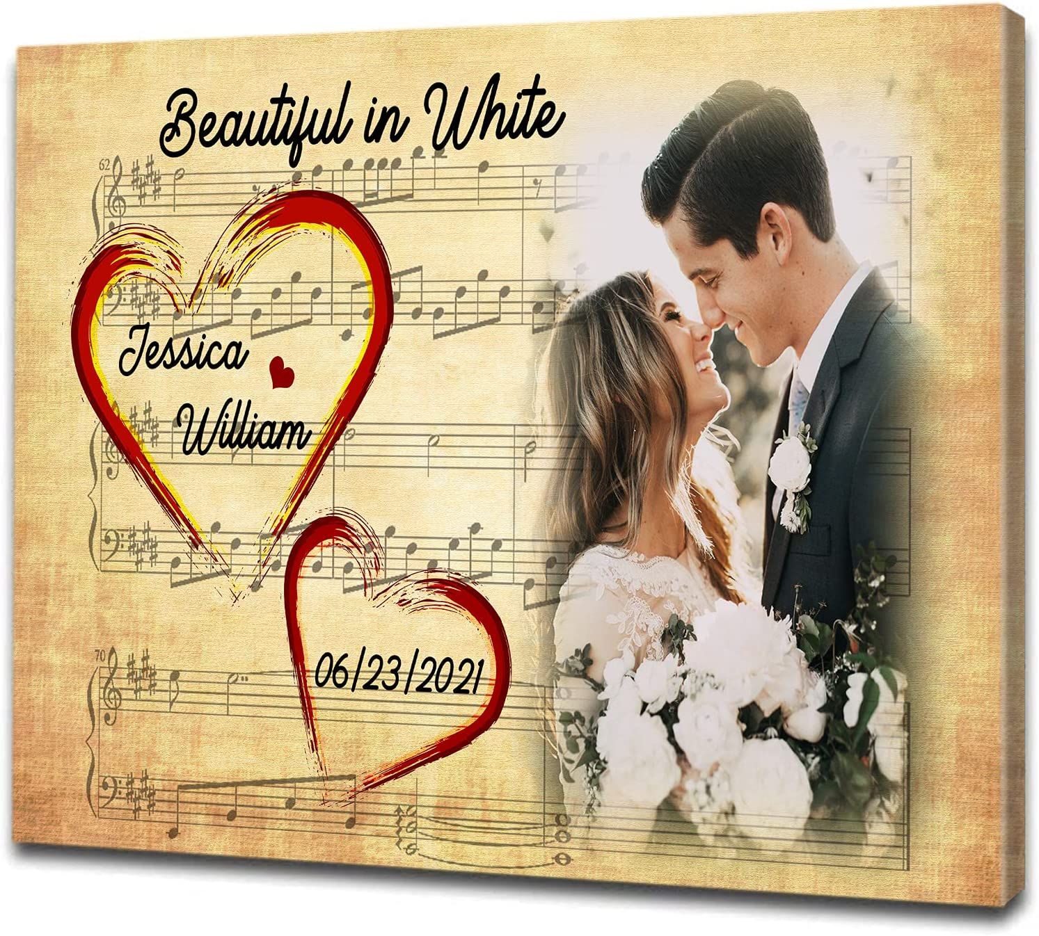 Personalized Max 90% OFF Canvas A surprise price is realized Couple Photo Gift W Wedding Romantic