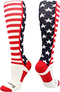 MadSportsStuff USA American Flag Stars and Stripes Over The Calf Socks