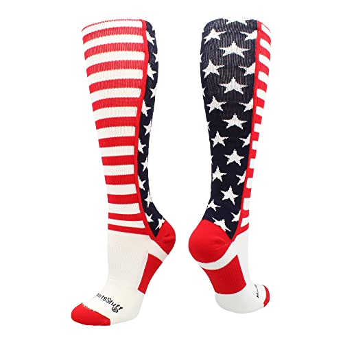 d85862cfac2 MadSportsStuff USA American Flag Stars and Stripes Over The Calf Socks