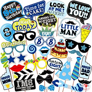 WOBBOX Eight Birthday Photo Booth Party Props Blue for Baby Boy , 8th Birthday Decorations for Boys , Kids Birthday Party ...