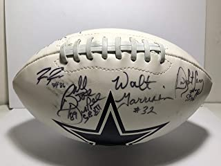 Billy Joe DuPree, Walt Garrison, Raymond Radway, David Buehler, Byron Williams, Jay Mallory & Dwight Carey Signed Dallas Cowboys Logo Football W/Inscriptions (JSA COA)