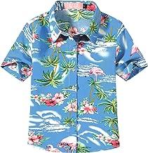 SSLR Big Girl's Flamingos Casual Button Down Short Sleeve Hawaiian Shirt