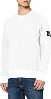 Calvin Klein Jeans Men's Monogram Sleeve Badge Sweatshirt, White