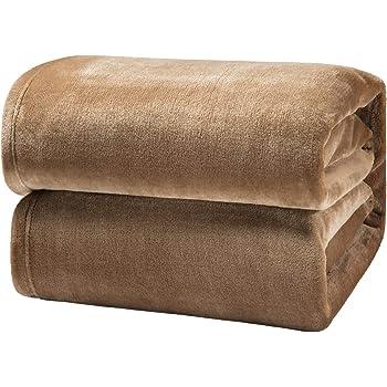 Bedsure Fleece Blanket Queen Size Taupe Lightweight Super Soft Cozy Beige Bed Blanket