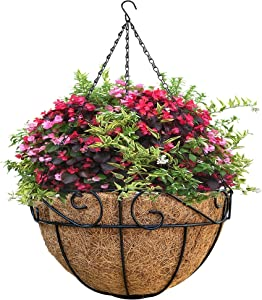 12 Inch Metal Hanging Planter Basket with Coco Coir Liner, Wire Plant Holder Flowerpots for Plants, Porch, Garden Decor, Indoor Outdoor Decoration