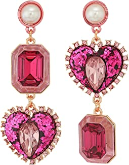 Betsey Johnson Rose Gold Pink Crystal Heart Non-Matching Earrings
