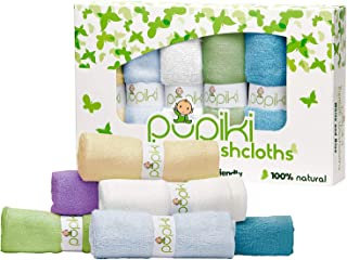 Pupiki Premium Baby Washcloths 6 Ultra-Soft Hypoallergenic 100% Organic Bamboo from Rayon..