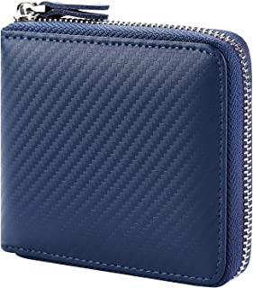 Huztencor Zipper Wallet Men RFID Blocking Leather Bifold Credit Card Wallets (FBA), Carbon Fiber Blue, Small, Rfid Wallet