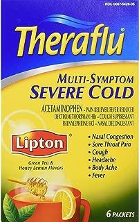 Theraflu Multi-Symptom Severe Cold Powder Packets Lipton Green Tea & Honey Lemon Flavors - 6 ct, Pack of 4