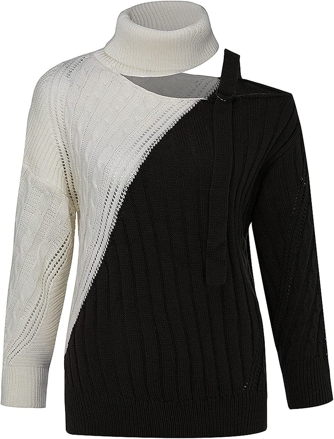 Womens Turtleneck Cold Shoulder Sweaters Contrast Color Patchwork Knitted Pullover Jumper Wool Plus Size Tops