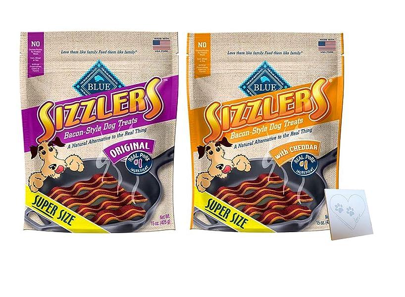 Blue Kitchen Cravings Pork Sizzlers - Two Flavors: Original & Cheddar - Plus Pet Paws Notepad (15oz Each, 30oz Total)