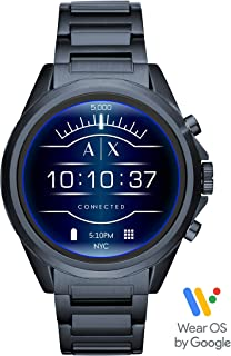 Armani Exchange Men's Smartwatch Touchscreen Watch with Stainless-Steel-Plated Strap, Blue, 22 (Model: AXT2003)