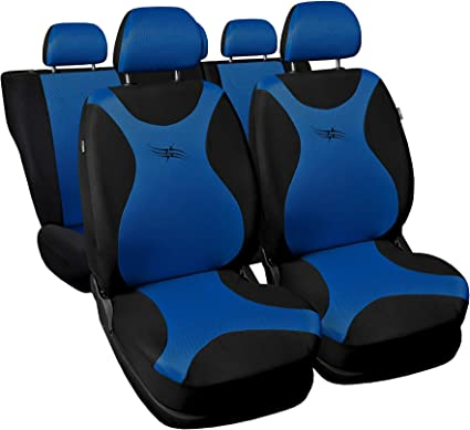 3er Set Saferide Autositzbezüge Pkw Universal Auto Sitzbezüge Polyester Blau Für Airbag Geeignet Für Vordersitze Und Rückbank 1 1 Autositze Vorne Und 1 Sitzbank Hinten Teilbar 2 Reißverschlüsse Auto