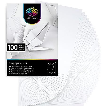 OfficeTree 100 Feuilles de papier en blanc - enfants Papier DIN A4 pour bricoler et construire - 130 g/m²