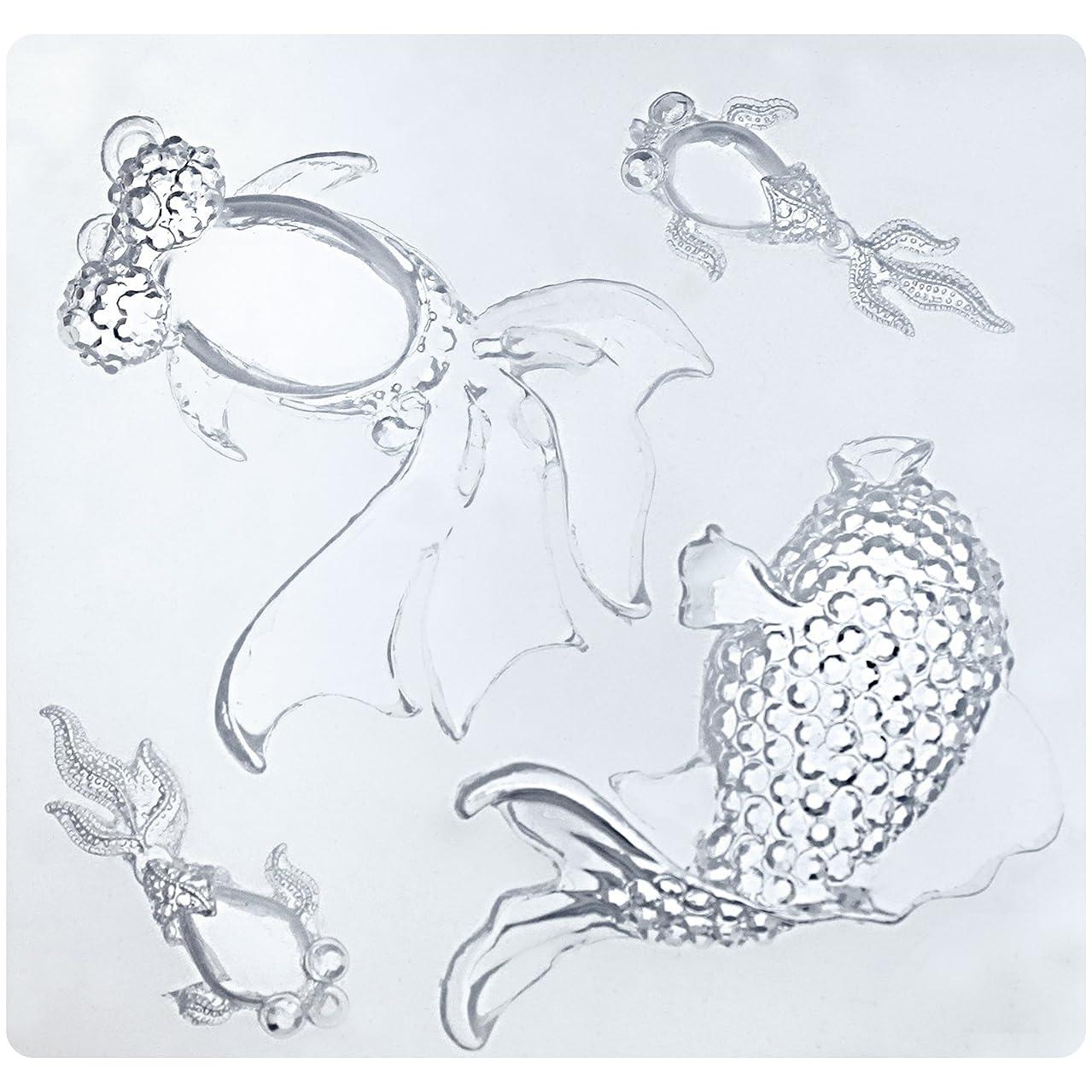 Funshowcase Crystal Goldfish Koi Fish Resin Epoxy Silicone Mold for Pendant Keychain Jewelry Crafting Projects