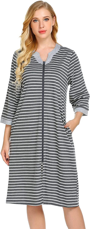 goldenfox Striped Loungewear Women Long Robes Zipper Front Full Length House Coat with Pockets SXXL