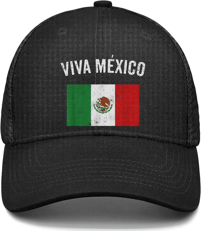 AIKYAN Mexican Flag Mexico with Viva Plain Mesh Baseball Caps Tennis Hats Unisex