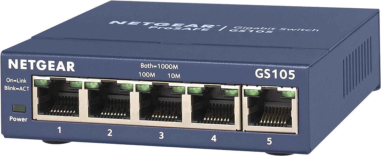NETGEAR アンマネージ スイッチングハブ 5ポート 卓上型コンパクト ギガビット 静音ファンレス 省電力設計 法人向け GS105