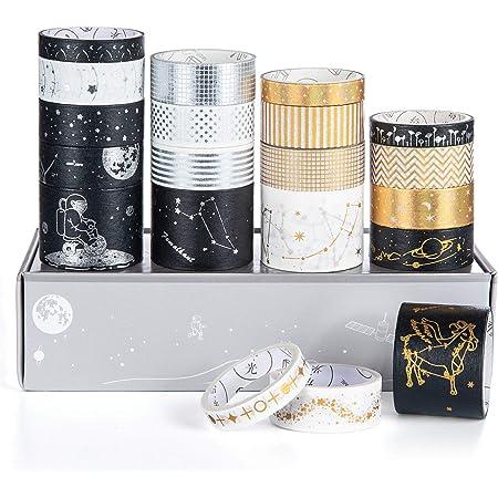 Scotch Decoratif Masking Tape, Vordas 20 Rouleaux de Ruban Adhésif Décoratif, Washi Tape pour Doré Scrapbooking Bullet Journal