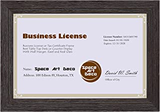 Space Art Deco 5.5x8.5 Dark Brown Textured Frame - Easel Stand - D-Ring Hangers - for Business License and Certificates - Desk/Table Top Display - Glass (Dark Brown)