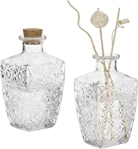 MyGift Diamond-Faceted Clear Glass Diffuser Bottles with Corked Lids, Set of 2