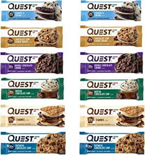 Quest Nutrition Protein Bar Fan Favorite's Variety Pack. Low Carb Meal Replacement Bar with 20 gram+ Protein. High Fiber, Gluten-Free (12 Count)