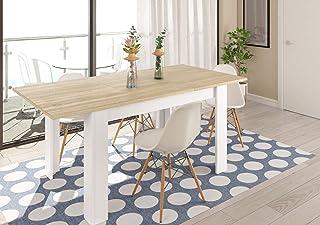 Table Extensible scandinave Kenda Bois et Blanc 140 à 190 cm