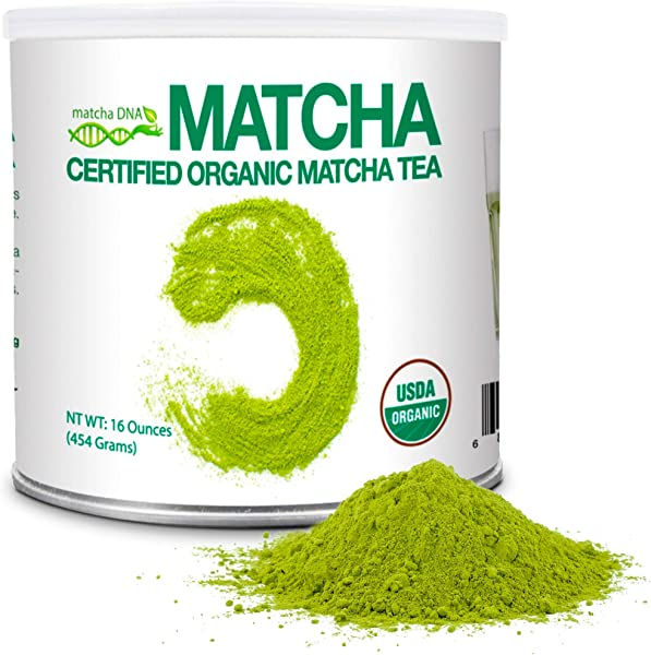 MatchaDNA 1 LB Certified Organic Matcha Green Tea Powder 16 OZ TIN CAN
