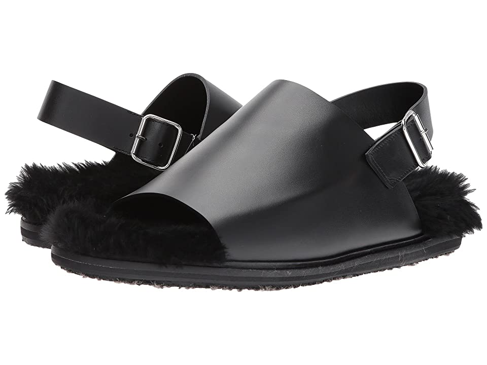 MARNI Shearling Lined Sandal (Black) Men