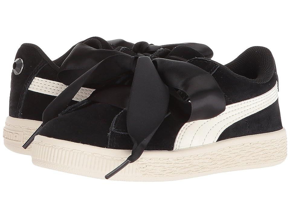 Puma Kids Suede Heart Jewel (Little Kid) (Puma Black/Whisper White) Girls Shoes