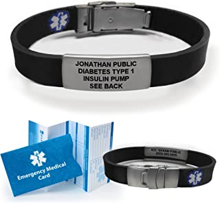 Sport/Slim Waterproof Medical Alert Bracelet. Incl. 9 Lines Engraving. Choose Colors! (Black)