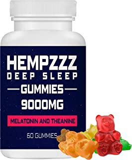 HempZZZ Gummies for Deep Sleep | with Melatonin and Theanine! Relaxation, Anxiety, Stress, Pain and Sleep Relief | 9000 MG...