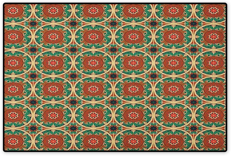 Ethnic,Door Mat Non Slip,Pattern with Asian Mandala Motifs Arabesque Influences Traditional Ornament Design,Floor Mat for Tub,Multicolor,Size,32 x48  (W80cm x L120cm)