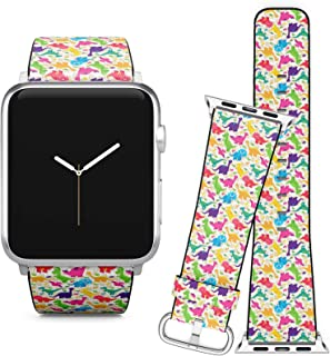 Compatible with Apple Watch (38/40 mm) // Leather Replacement Bracelet Strap Wristband + Adapters // Dinosaur Tileable