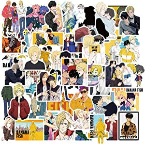 50Pack Cartoon Banana Fish Stickers Set Random Sticker Decals for Water Bottle Laptop Cellphone Bicycle Motorcycle Car Bumper Luggage Travel Case. Etc (Banana Fish)