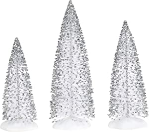 Department 56 Village Cross Product Accessories Sparkly Silver Sisal Tree Figurine Set, 5.5 to 7.5 Inch, Multicolor