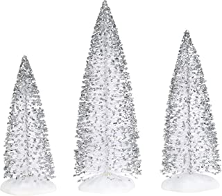 Department 56 Village Collections Accessories Sparkly Silver Sisal Tree Figurines, Various Heights, Multicolor