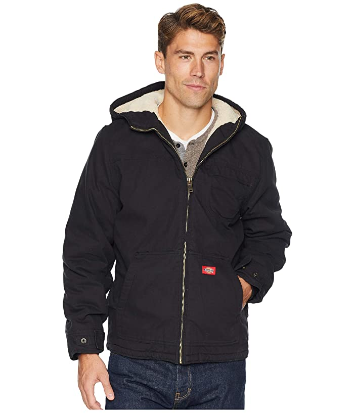 Dickies Sanded Duck Sherpa Lined Hooded Jacket (Black) Men